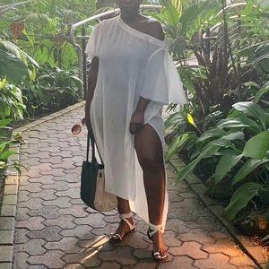 Akemi + Kin pleated highlo ivory white tunic dress